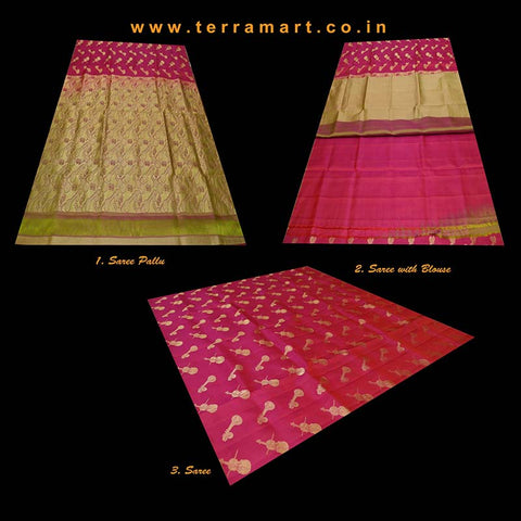 Terramart_Exclusive Silk Pure Pattu Saree for Women / Girls (Dark Shiny Pink, Olive Green & Gold)