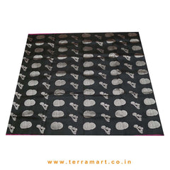 Terramart_Exclusive Silk Pure Pattu Saree for Women / Girls (Black, Pink, Silver & Gold)