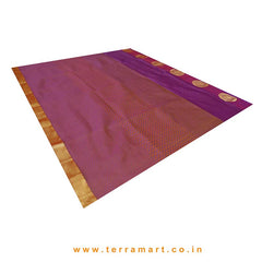 Terramart_Exclusive Silk Pure Pattu Saree for Women / Girls (Violet, Orange, Maroon & Gold)