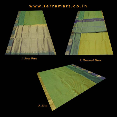 Terramart_Exclusive Silk Pure Pattu Saree for Women / Girls (Green, Violet & Gold)