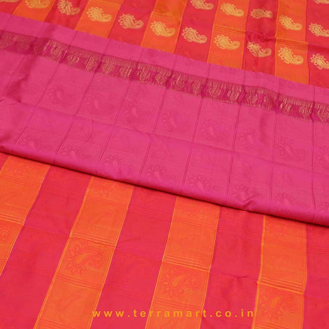 Terramart_Exclusive Silk Pure Pattu Saree for Women / Girls (Orange, Pink, Blue, Red & Gold)