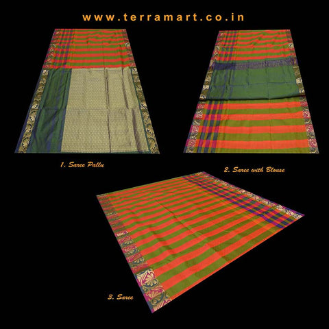 Terramart_Exclusive Silk Pure Pattu Saree for Women / Girls (Dark Green, Purple, Orange Green & Gold)
