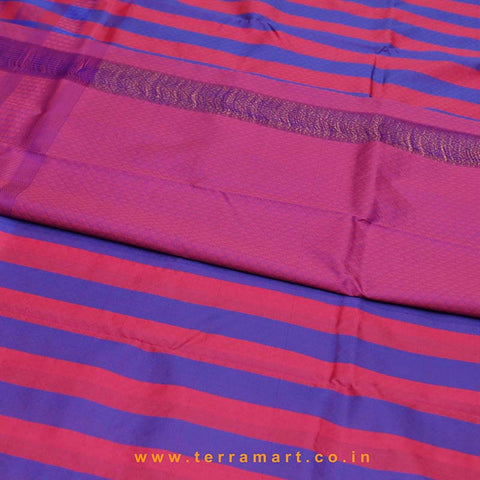Terramart_Exclusive Silk Pure Pattu Saree for Women / Girls (Navy Blue, Pink, Purple & Gold)