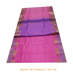 Terramart_Exclusive Silk Pure Pattu Saree for Women / Girls (Pink, Lavender & Gold)