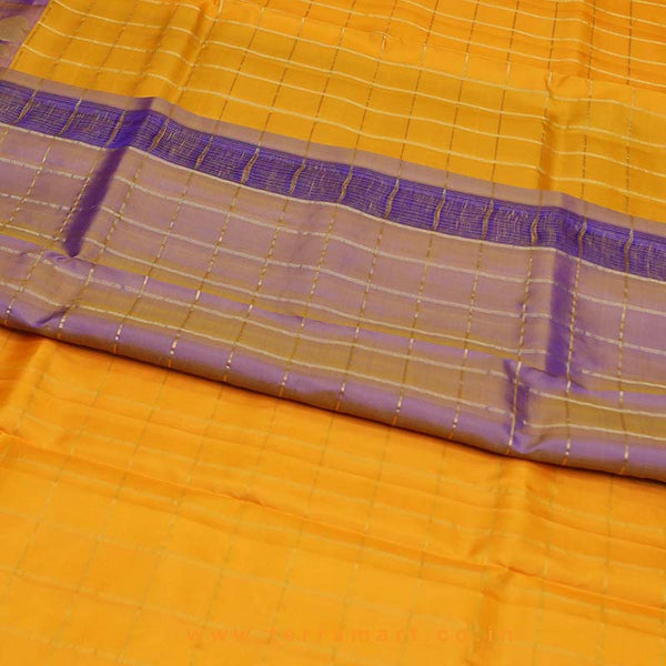 Terramart_Exclusive Silk Pure Pattu Saree for Women / Girls (Mango Yellow, Violet & Gold)