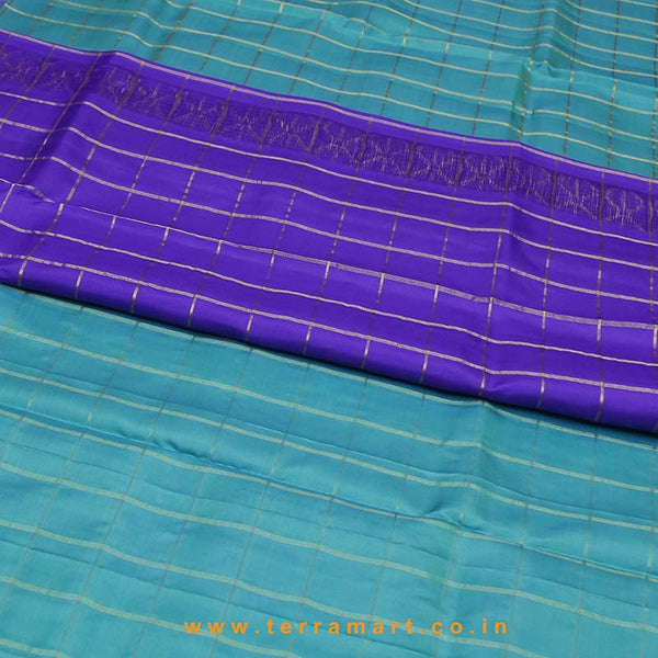Terramart_Exclusive Silk Pure Pattu Saree for Women / Girls (Aqua Green, Navy Blue & Gold)