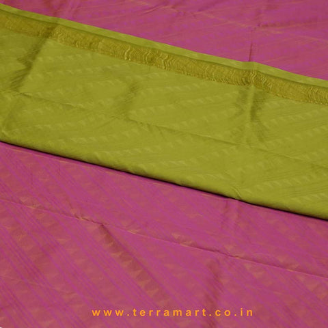 Terramart_Exclusive Silk Pure Pattu Saree for Women / Girls (Shiny Pink & Sap Green & Gold)