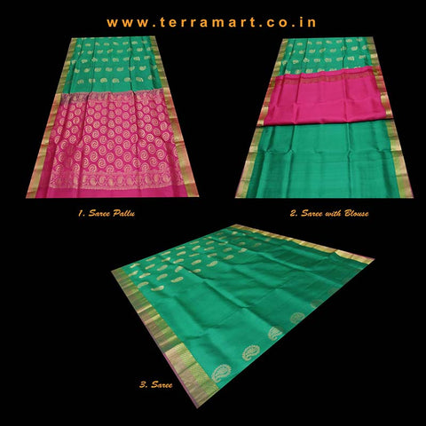 Terramart_Exclusive Silk Pure Pattu Saree for Women - Girls (Green, Pink and Gold)