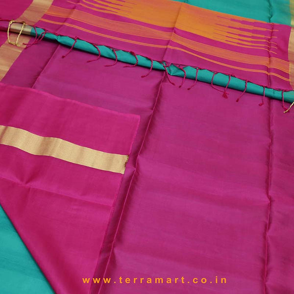 Terramart_Exclusive Jute Silk Pattu Saree for Women / Girls (Aqua Green, Mango Yellow, Pink  & Gold)