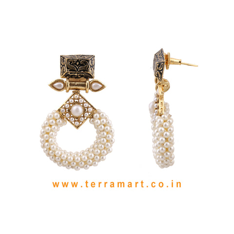 Terramart Jewellery - Antique Stylish Earring with White Beads for Women / Girls ( white & Gold)