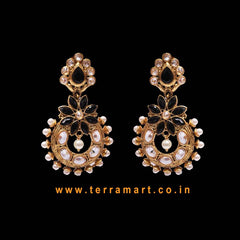Floral Antique Earring With Black, White, Gold Stone & Pearl - Terramart Jewellery