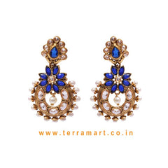 Floral Antique Earring With Blue & White Stone & Pearl - Terramart Jewellery