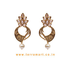 Pretty Antique Earring With White, Gold Stone & Pearl - Terramart Jewellery