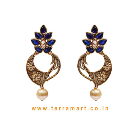 Pretty Antique Earring With White, Blue & Gold Stone & Pearl - Terramart Jewellery