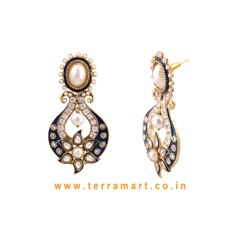 Terramart Jewellery - Antique Grand Earring with Pearl for Women / Girls (White, Gold & Blue enamel)