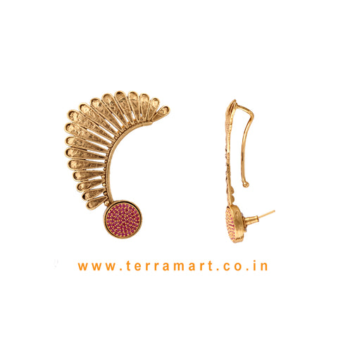 Terramart Jewellery - Antique Trendy Ear Cuff  for Women / Girls (Pink & Gold)