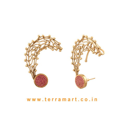 Terramart Jewellery - Antique Beautiful Ear Cuff  for Women / Girls  ( Pink & Gold)