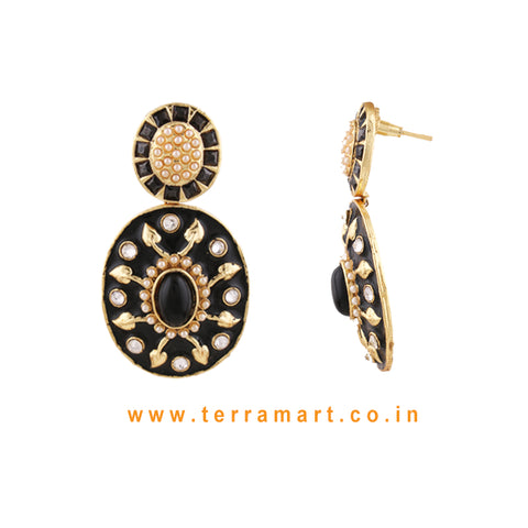 Terramart Jewellery - Antique Grand Black Enamel Earring  for Women (Gold, Black & White)