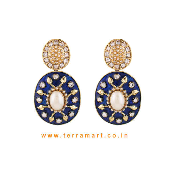 Terramart Jewellery - Antique Grand  Blue Enamel Earring  for Women (White, Blue & Gold)