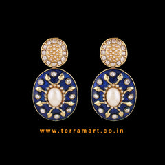 Impressive Antique Earring With White Stone & Blue Enamel