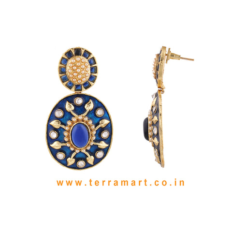 Terramart Jewellery - Grand Antique Blue Enamel Earring  for Women (Gold, Blue & White)