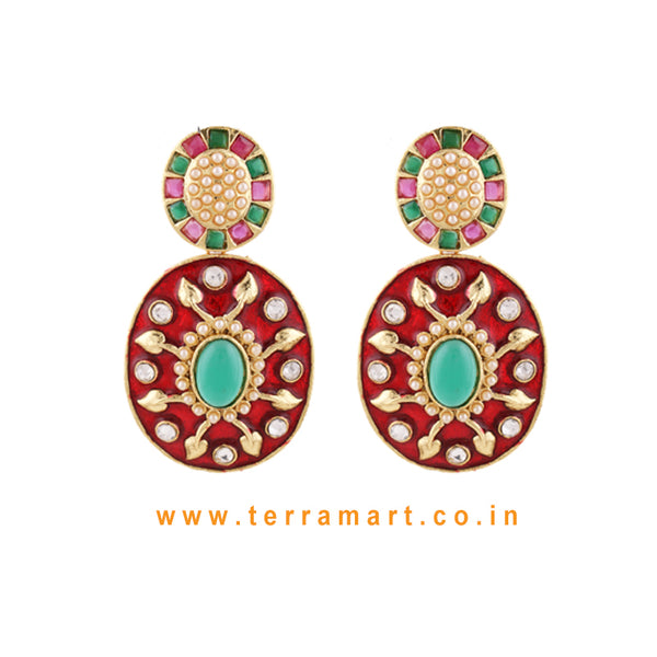 Terramart Jewellery - Antique Grand Ethnic Red Enamel Earring for Women (Pink,Green, Gold & White)
