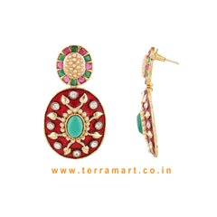 Impressive Antique Earring With White Stone & Pink, Green Color Enamel