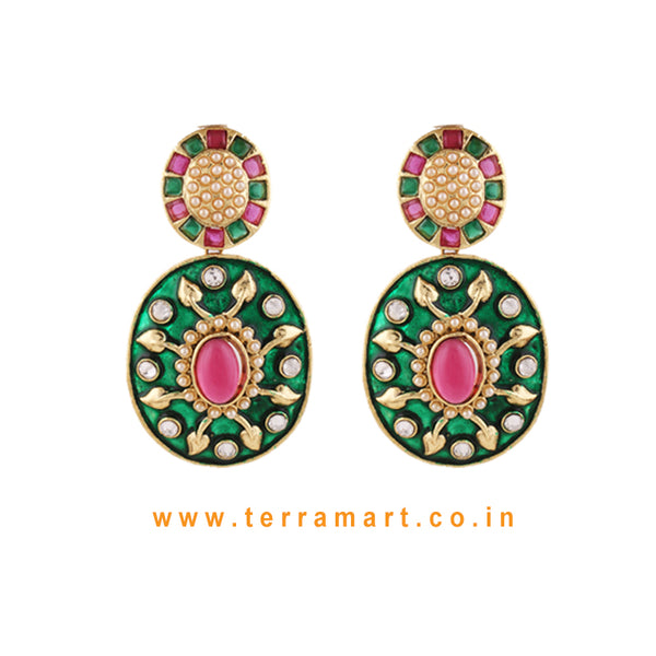 Terramart Jewellery - Beautiful Antique Green Enamel Earring  for Women / Girls (Green,Pink, Gold & White)