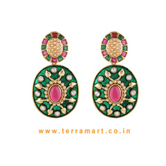 Impressive Antique Earring With White Stone Gold & Green, Pink Color Enamel - Terramart Jewellery