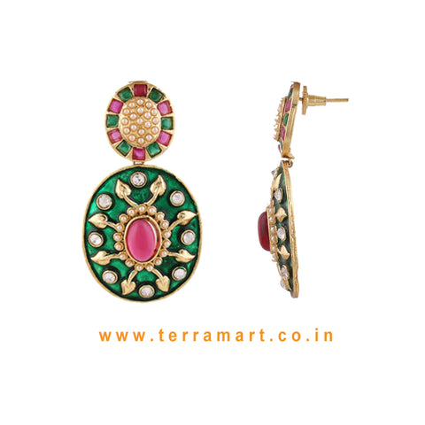 Impressive Antique Earring With White Stone & Green, Pink Color Enamel