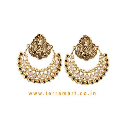 Chandbali Style Antique Earring With White & Blue Colour Stone