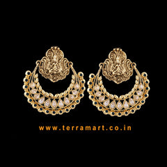 Chandbali Style Antique Earring With White, Blue, Gold Colour Stone - Terramart Jewellery