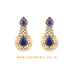Ethnic Designed Antique Earring With White Stone Gold & Blue Enamel - Terramart Jewellery