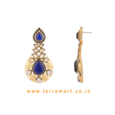 Ethnic Designed Antique Earring With White Stone & Blue Enamel