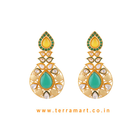 Ethnic Designed Antique Earring With White Stone & Green, Yellow Enamel