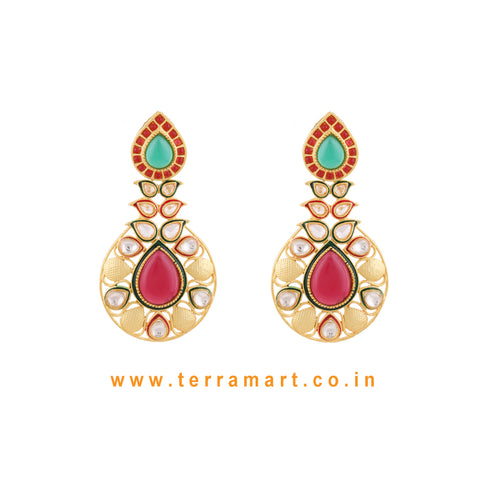 Ethnic Designed Antique Earring With White Stone & Green, Pink Enamel