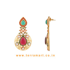 Ethnic Designed Antique Earring With White Stone Gold & Green, Pink Enamel - Terramart Jewellery