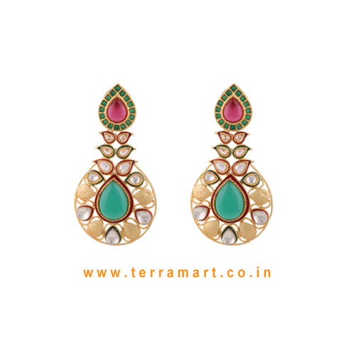 Ethnic Designed Antique Earring With White Stone & Pink, Green Enamel