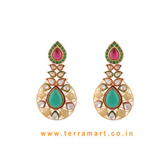 Ethnic Designed Antique Earring With White Stone Gold & Pink, Green Enamel - Terramart Jewellery