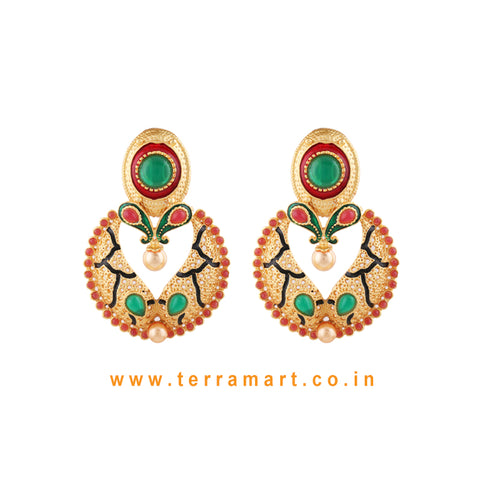 Beautifully Designed Antique Earring With Pink & Green Colour Enamel