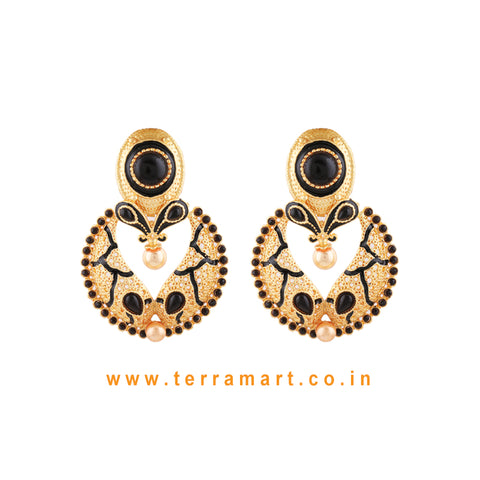 Beautifully Designed Antique Earring With Black Colour Enamel