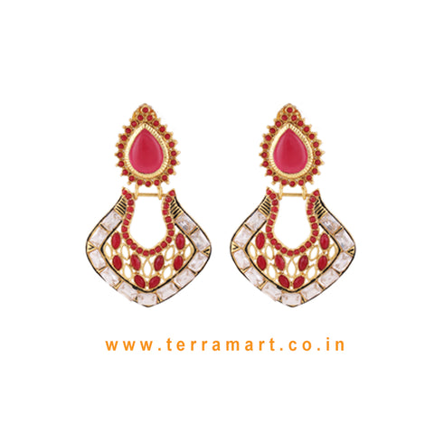 Chandbali Style Antique Earring With White Stone & Red Colour Enamel