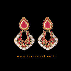 Chandbali Style Antique Earring With White, Red & Gold Colour Stone - Terramart Jewellery
