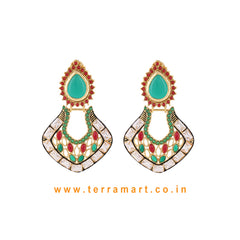 Chandbali Style Antique Earring With White, Red, Green & Gold Colour Stone - Terramart Jewelery