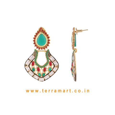 Chandbali Style Antique Earring With White Stone & Red, Green Colour Enamel