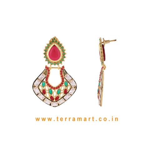 Chandbali Style Antique Earring With White Stone & Green, Red Colour Enamel