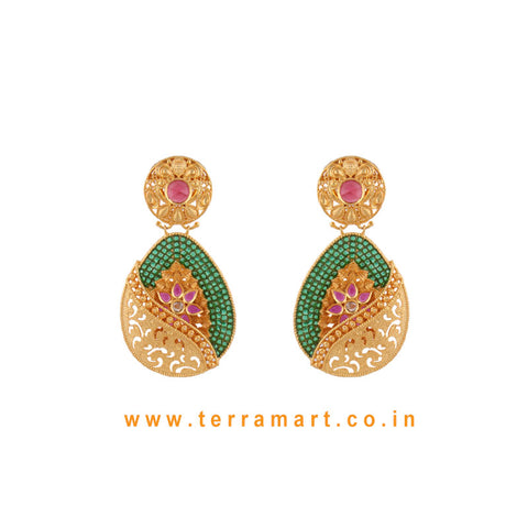 Traditional Antique Earring With White, Red & Green Color Stone