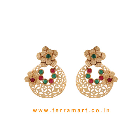 Floral Designed Pretty Antique Earring With Pink & Green Colour Enamel