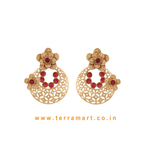 Floral Designed Pretty Antique Earring With Pink Colour Enamel