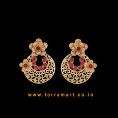 Terramart Jewellery - Antique Stylish Earring  for Women (Gold & Pink )